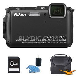 COOLPIX AW120 16MP Waterproof Shockproof Freezeproof Black Digital Camera Kit
