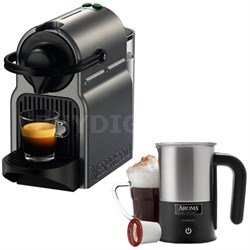 Inissia Espresso Maker Titan C40-US-TI-NE w/ Aroma Stainless Steel Milk Frother