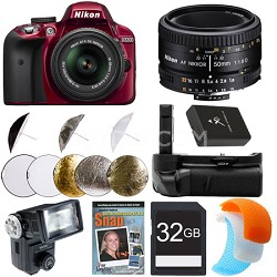 D3300 DSLR HD Red Digital Camera Portrait Photographer Bundle