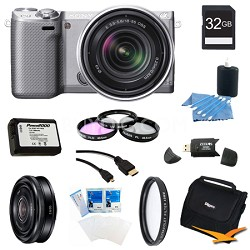 NEX-5RK/S Compact Camera with 18-55 Lens 32GB 20mm f 2.8 Ultimate Bundle