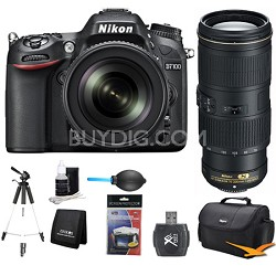 D7100 DX-Format Digital HD-SLR with 18-105mm and 70-200mm Lens Bundle