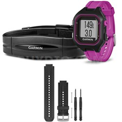 Forerunner 25 GPS Fitness Watch w/ Heart Rate Monitor Small Purple Black Bundle