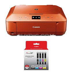 PIXMA MG6620 Wireless Color Photo All-in-One Inkjet Orange Printer 4 Ink Bundle