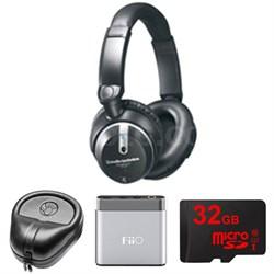 Quitepoint Noise Canceling Headphones - ATHANC7B w/ FiiO A1 Amp. Bundle