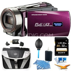 HD 16 MP Infrared Night Vision Camcorder - Maroon (DNV16HDZ-M) Plus 32GB Bundle