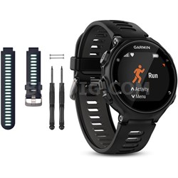 Forerunner 735XT GPS Running Watch with Midnight Blue Band Bundle - Black/Gray