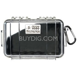 1050 Micro Case with Clear Lid and Carabineer (Black)