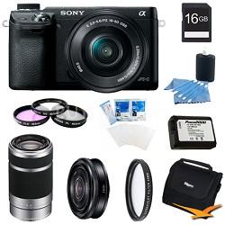 Alpha NEX-6 Camera 16-50mm Lens (Black) 16GB 55-210mm SEL 16mm f 2.8 Lens Bundle