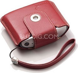 Leather Carry Case and Strap (Red)