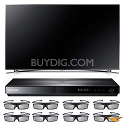 """UN60F8000 60"""" 3D Slim Smart WiFi LED HDTV and 3D Blu-ray with 3D Glasses Bundle"""