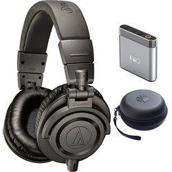 Professional Studio Monitor Headphones Gray - ATH-M50xMG w/ Amplifier Bundle