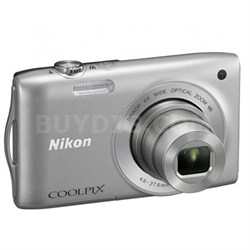 COOLPIX S3200 16.1 MP 6x Zoom Silver Digital Camera - Factory Refurbished