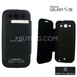 Battery Case with Protective Screen Cover For Samsung Galaxy S3 - Black