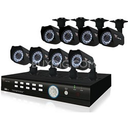 8 Channel 500GB DVR Kit with 8 Cameras - (2 with Audio) Smart Phone Compatible