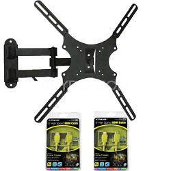 Articulating Full Motion Wall Mount for 13-47 inch TVs + 2 Bonus HDMI Cables