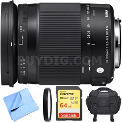 18-300mm F3.5-6.3 DC Macro OS HSM Lens Contemporary for Nikon DX Cameras Bundle
