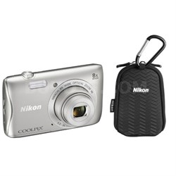 COOLPIX S3700 20.1MP 8x Optical Zoom WiFi Digital Camera w/ Case (Refurbished)