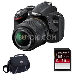 D3200 DX-format Digital SLR Kit w/ 18-55mm DX VR Zoom Lens (Black)16GB Deluxe