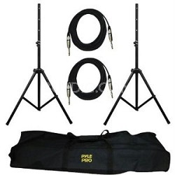 PMDK102 - Heavy-Duty Aluminum Anodizing Dual Speaker Stand & 1/4'' Cable Kit