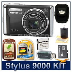 "Stylus 9000 12MP 2.7"" LCD Digital Camera (Black) Sensible Mega Bundle"