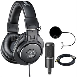 ATH-M30x Professional Headphones w/ Condenser Microphone Bundle