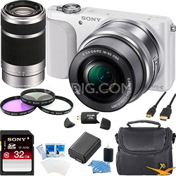 NEX-3NL Digital Camera  w 16-50, 55-210 Lens Ultimate Bundle (White)