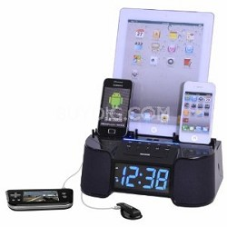 6 Port Smart Phone Charger with Alarm, Clock and FM Radio (Black)
