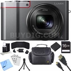 ZS100 LUMIX 4K 20 MP Digital Camera - Silver (DMC-ZS100S) 16GB SDHC Card Bundle