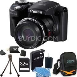 Powershot SX500 IS 16MP 30x Zoom Black Digital Camera 32GB Kit