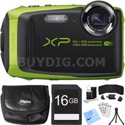 FinePix XP90 16 MP Waterproof Digital Camera Green 16GB SDHC Card Bundle
