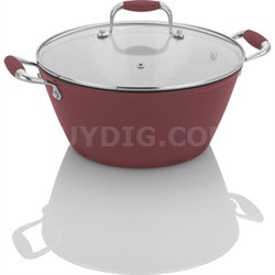 Michelle B. by Fagor Cast Iron Lite 5 Quart Soup Pot with Lid - Red - OPEN BOX