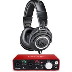 ATH-M50X Professional Studio Headphones w/ Focusrite 2i2 Audio Interface Bundle