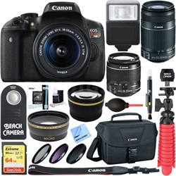 EOS Rebel T6i DSLR Camera EF-S 18-55mm & 55-250mm IS Lens + 64GB Accessory Kit