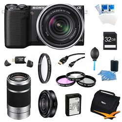 NEX-5RK/B Compact Camera with 18-55 + SEL 55-210, 20mm f.28 Lens Bundle