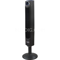 42-Inch Oscillating 3 Speed Mode 12 Hour Timer Black Tower Fan with Remote