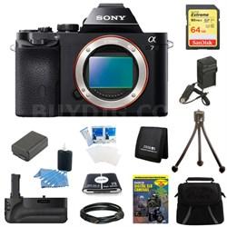 Alpha 7 a7 Digital Camera 64 GB SDHC Card, Battery and Battery Grip Bundle