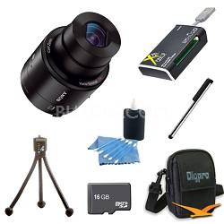 DSC-QX100/B Smartphone attachable lens-style camera 16GB Bundle