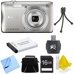 COOLPIX S3700 20.1MP 720p HD Video Digital Camera - Silver Deluxe Bundle