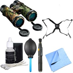 16007 Monarch 3 Extra Green Binoculars 10x42 Explorer Bundle