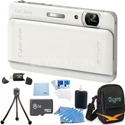 "Cyber-shot DSC-TX66 18.2 MP CMOS Camera 5X Zoom 3.3"" OLED White 8 GB Memory Kit"