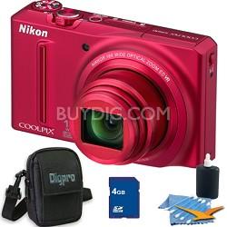 COOLPIX S9100 12MP Red Digital Camera 4GB Bundle