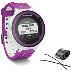 Forerunner 220 White/Violet Bundle with Heart Rate Monitor + Bike Mount Kit