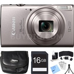 PowerShot ELPH 360 HS Silver Digital Camera w/ 12x Optical Zoom 16GB Card Bundle