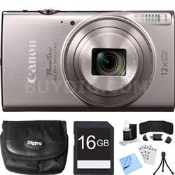 PowerShot ELPH 360 HS Silver Digital Camera w/ 12x Optical Zoom 16GB Card Bundle