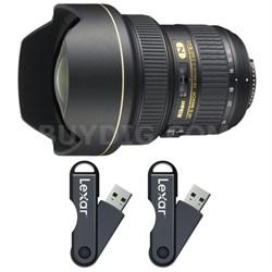 14-24mm f/2.8G AF-S NIKKOR ED Lens 64GB USB Flash Drive 2-Pack Bundle
