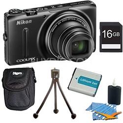 COOLPIX S9500 18.1 MP 22x Zoom Built-In Wi-Fi Digital Camera Black Plus 16GB Kit