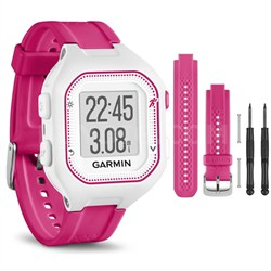 Forerunner 25 GPS Fitness Watch - Small - White/Pink - Pink Band Bundle