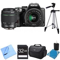 K-S2 20MP DSLR Camera Two Lens Kit w/ 18-50mm WR & 50-200mm WR Black 32GB Bundle