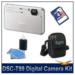 DSC-T99 14MP Silver Touchscreen Digital Camera with 4GB Card, Case,and more