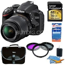 D3200 DX-format DSLR Kit w/ 18-55mm DX VR Zoom Lens (Black) 16GB Deluxe Bundle